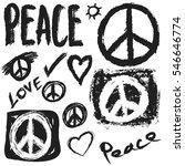 retro design of peace  love and ... | Shutterstock .eps vector #546646774