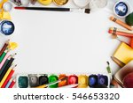 colorful drawing supplies frame ... | Shutterstock . vector #546653320