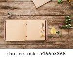 open album with herbarium on... | Shutterstock . vector #546653368