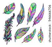 vintage feather ink vector set. ...   Shutterstock .eps vector #546666706
