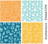vector set of seamless patterns ... | Shutterstock .eps vector #546667294