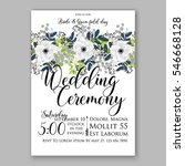anemone wedding invitation card ... | Shutterstock .eps vector #546668128