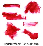Set Of Red Paint Strokes...