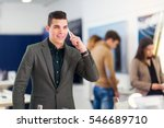 young man talking on smart...   Shutterstock . vector #546689710