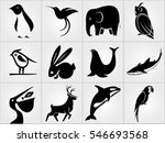 set of animals icons. penguin ... | Shutterstock .eps vector #546693568