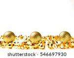 gold christmas balls isolated...   Shutterstock . vector #546697930