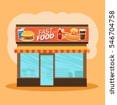 fast food store front view on...   Shutterstock .eps vector #546704758