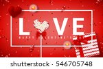 Happy Valentine's Day red banner. Top view on composition with lollipop, gift box, case for ring, candles and confetti. Candy in the form of heart isolated on red backdrop. Vector illustration.  | Shutterstock vector #546705748