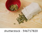 pumpkin seeds in a sack on the... | Shutterstock . vector #546717820