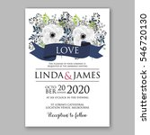 anemone wedding invitation card ... | Shutterstock .eps vector #546720130