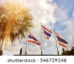 Three Flags Of Thailand With...