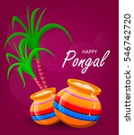 happy pongal greeting card on... | Shutterstock .eps vector #546742720