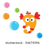 cute bubble seahorse | Shutterstock .eps vector #54674596