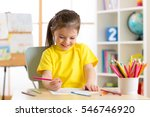 cute little preschooler child... | Shutterstock . vector #546746920