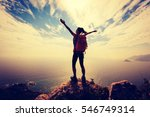 successful woman backpacker... | Shutterstock . vector #546749314