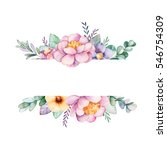 Stock photo beautiful watercolor border frame with peony flower foliage branches and gemstones handpainted 546754309
