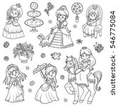 black and white set of princess ... | Shutterstock .eps vector #546775084