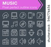 set of thin line music icons...