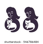 Stock vector woman silhouette holding cat or dog vet clinic or pet supplies store logo illustration 546786484