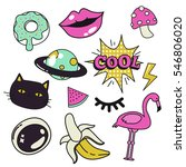 trendy hand draw patch badges ... | Shutterstock .eps vector #546806020
