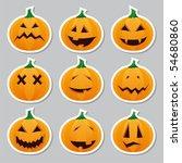 halloween pumpkins   stickers | Shutterstock .eps vector #54680860