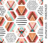 watercolor hexagon seamless... | Shutterstock . vector #546824620