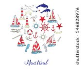 nautical background with ships... | Shutterstock .eps vector #546828976