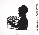 joyful caucasian woman holding... | Shutterstock .eps vector #546835768