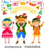 purim set with children and... | Shutterstock .eps vector #546836806