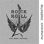 hand drawn rock festival poster.... | Shutterstock .eps vector #546854746