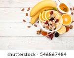 healthy breakfast. muesli ... | Shutterstock . vector #546867484