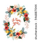 colorful vintage bouquet of... | Shutterstock .eps vector #546887044