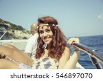 happy woman on boat | Shutterstock . vector #546897070