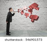 business person hold megaphone... | Shutterstock . vector #546901573