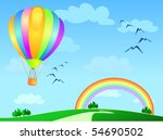 balloon flying to the rainbow ... | Shutterstock .eps vector #54690502
