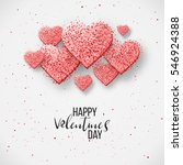 Luxury Elegant Happy valentine day festive sparkle layout template design. Glitter red hearts on gray background with frame, border. Lettering Valentine day card Illustration. Glitter Love confetti. | Shutterstock vector #546924388