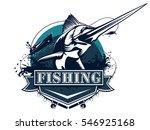 blue marlin fishing logo... | Shutterstock .eps vector #546925168