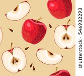 red apples and apple slices... | Shutterstock .eps vector #546932293