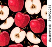 red apples and apple slices...   Shutterstock .eps vector #546932296