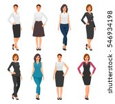 women in office clothes.... | Shutterstock .eps vector #546934198