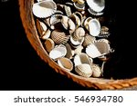 Pile Of Cockles Shells In Basket