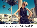 beautiful fashionable young... | Shutterstock . vector #546946750