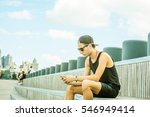 man travels in new york in hot... | Shutterstock . vector #546949414
