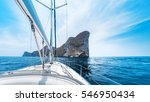 sailing vessel moves in a sea... | Shutterstock . vector #546950434