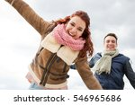 portrait of young couple joyful ... | Shutterstock . vector #546965686