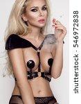 sexy blonde woman sensual femme ... | Shutterstock . vector #546972838