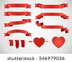 vintage love theme ribbon set. | Shutterstock .eps vector #546979036
