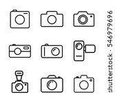 thin line camera icons set on...