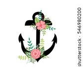 hand drawn anchor with a floral ... | Shutterstock .eps vector #546980200