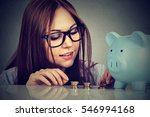 young woman counting money... | Shutterstock . vector #546994168